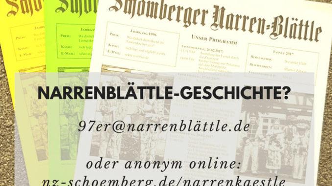 Online Narrenkästle der Schömberger 20er für die Fasnet 2018